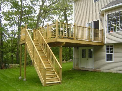 Decks stairs and white deck on pinterest for Second story decks with stairs